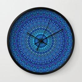 Blue Spiritual Flower Garden Mandala Wall Clock
