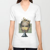 trumpet V-neck T-shirts featuring Sad trumpet by fabiotir