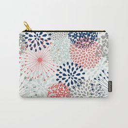 Floral Print - Coral Pink, Pale Aqua Blue, Gray, Navy Carry-All Pouch