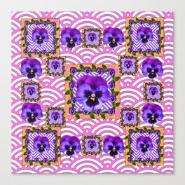 PINK & PURPLE PANSY ART ABSTRACT  PATTERN Canvas Print