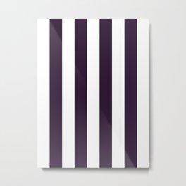 Vertical Stripes - White and Dark Purple Metal Print