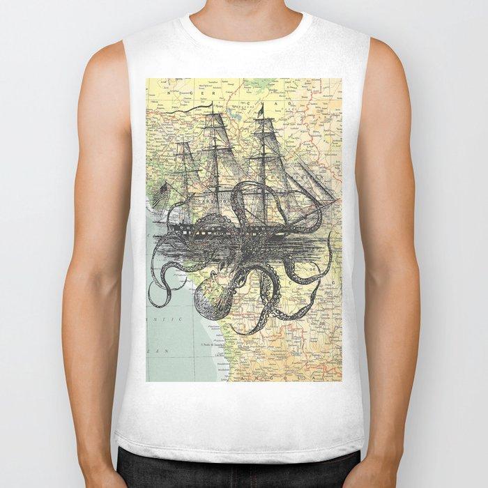 Octopus Attacks Ship on map background Biker Tank