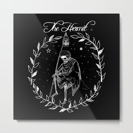 Tarot card the hermit Metal Print