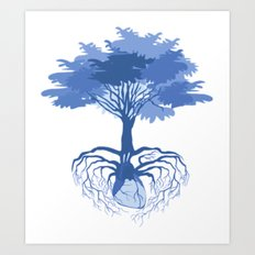 Heart Tree - Blue Art Print