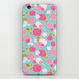 Blue & Pink Roses Allover with Geometric Pattern and Gold iPhone Skin