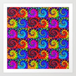 Spiral Tie Dye Checkerboard Art Print