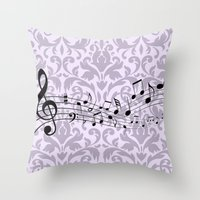 music notes Throw Pillows featuring Damask Music Notes by Jessica Wray