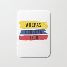 Funny Tejo print Gift Arepas Cerveza Tejo Colombia flag product Bath Mat