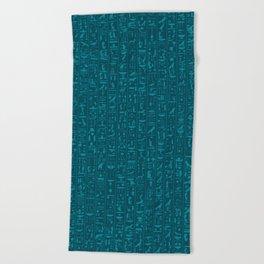 Hieroglyphics Moonstone BLUE / Ancient Egyptian hieroglyphics pattern Beach Towel