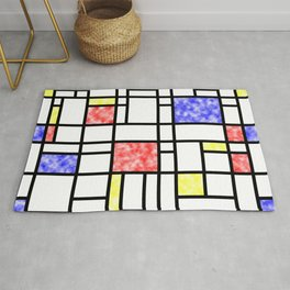 Modern Art Plasma Red Yellow Blue Grid Pattern Rug