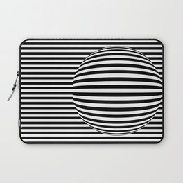 Black and White Stripes and Sphere Digital Illustration - Artwork Laptop Sleeve