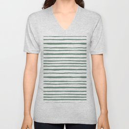 Geometrical hand painted pastel green watercolor stripes Unisex V-Neck