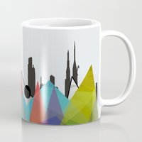 geometric Mugs featuring geometric  by mark ashkenazi