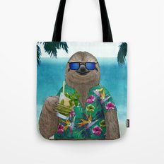 Sloth on summer holidays drinking a mojito Tote Bag