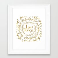 lord of the rings Framed Art Prints featuring LORD OF THE RINGS by MiliarderBrown