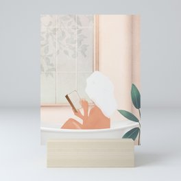 Reading Girl in Bathtub Mini Art Print