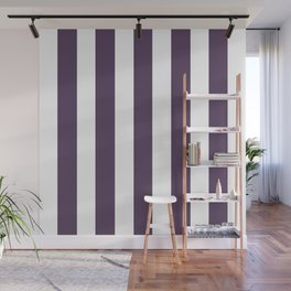 Old heliotrope violet - solid color - white vertical lines pattern Wall Mural