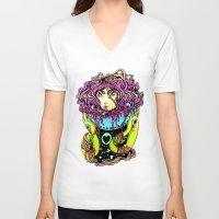 ramen V-neck T-shirts featuring Ramen girl by bb0t