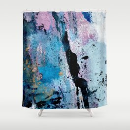 Breathe [3]: colorful abstract in black, blue, purple, gold and white Shower Curtain