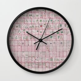 The Complete Voynich Manuscript - Red Tint Wall Clock