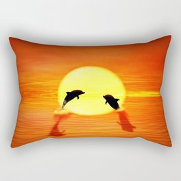 dolphin sunset jump Rectangular Pillow