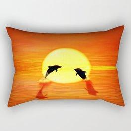 dolphin sunset jump Rectangular Pillow