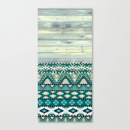Aztec Pattern on Wood Panel NOT REAL WOOD - Triba Canvas Print