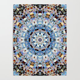 Blue Brown Folklore Texture Mandala Poster