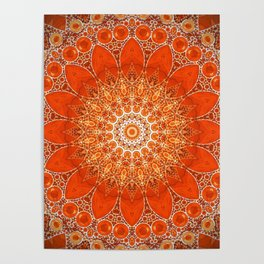 Detailed Orange Boho Mandala Poster