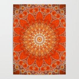 Detailed Orange Boho Mandala Poster
