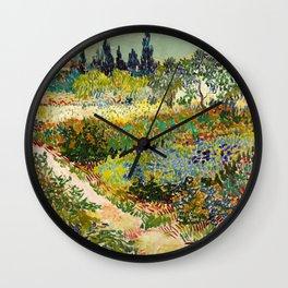 Garden at Arles by Vincent van Gogh, 1888 Wall Clock