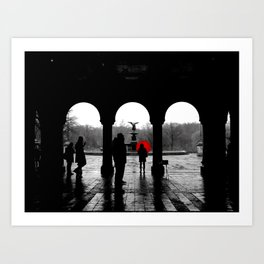 Bethesda Terrace Red Art Print