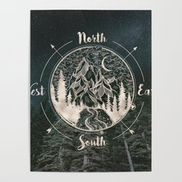 Mountains Compass Milky Way Woods Gold Poster