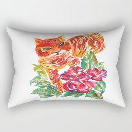 Tiger Roses Rectangular Pillow