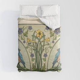 Bluebirds And Spring Blossoms Inspired By Art Nouveau Comforters