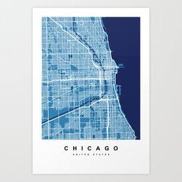 Chicago Map | Blue & Blue Colors Art Print