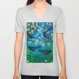 Crows in Plum Tree Unisex V-Neck