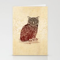 ornate Stationery Cards featuring Most Ornate Owl by Rachel Caldwell