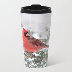 Winter's Beauty Cardinal Metal Travel Mug