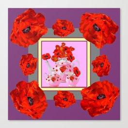 ORANGE POPPIES & PORCELAIN TEA SERVICE FLORAL ART Canvas Print