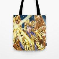 saga Tote Bags featuring Gemini Saga by Studio Kawaii