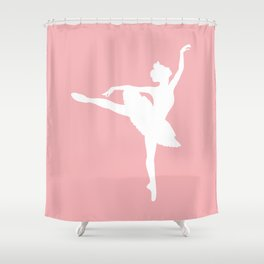 Pink and white Ballerina Shower Curtain