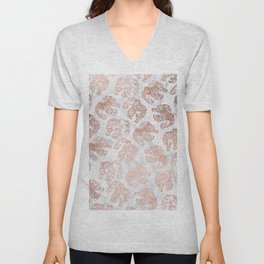 Boho rose gold floral paisley mandala elephants illustration white marble pattern Unisex V-Neck