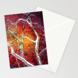 Red winter night Stationery Cards
