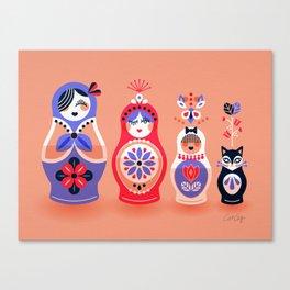 Russian Nesting Dolls – Pink & Lavender Canvas Print