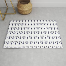 Little Navy Kokeshi Dolls all in a Row Rug