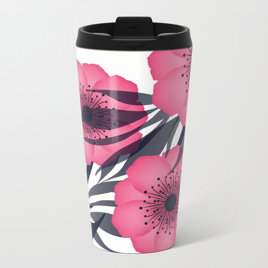 Pink flowers. Metal Travel Mug