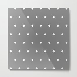 Grey With White Polka Dots Pattern Metal Print