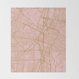 Pink and gold Medellin map, Colombia Throw Blanket