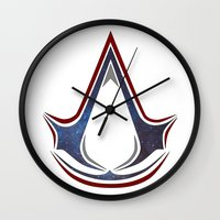 assassins creed Wall Clocks featuring Assassins Creed - Space by Fatih